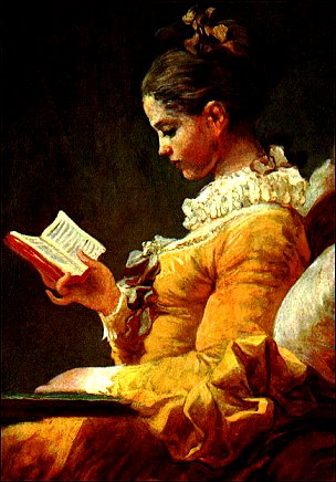 youthful girl reading a book